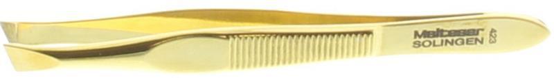 Pincet 8 cm verguld scheef 423-G