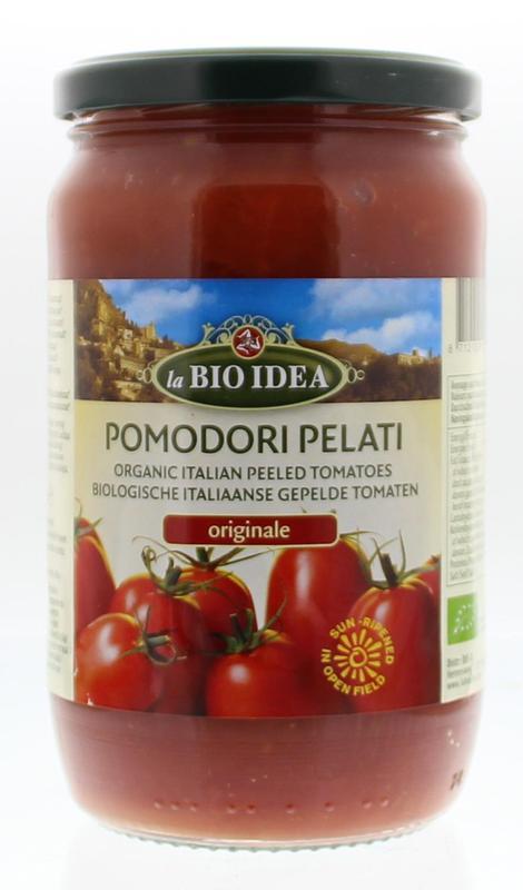 Tomaten gepeld (glas) bio