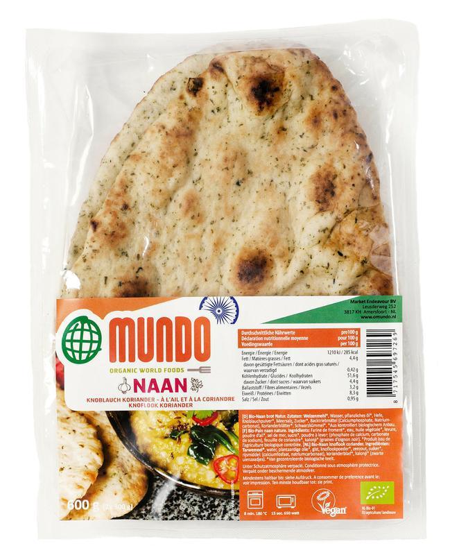 Naanbrood knoflook / koriander bio