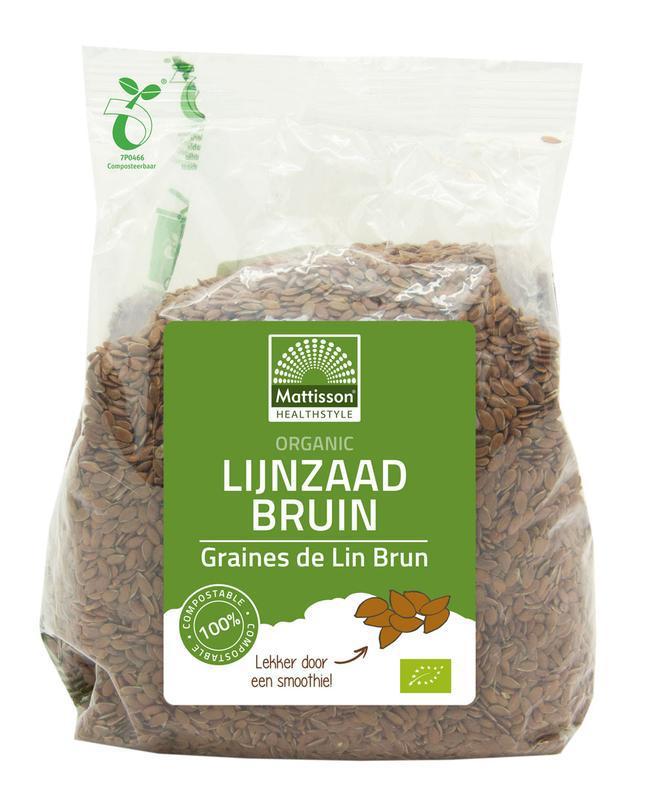 Organic lijnzaad bruin heel omega 3 bio