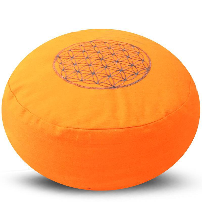 Yoga meditatie kussen flower of life oranje 36x17