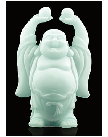 Sneeuwkwarts boeddhabeeld bollen hoog in hand 12cm