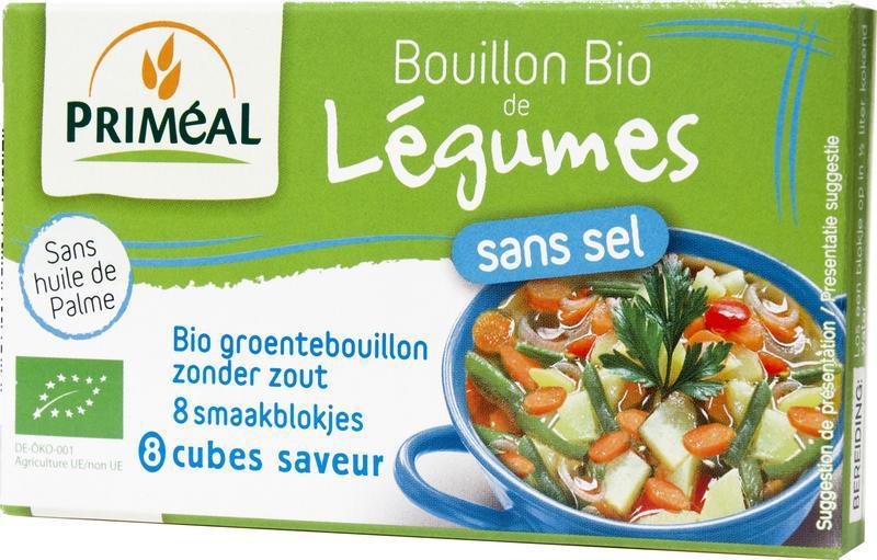 Groentebouillon blokjes zonder zout 9 gram bio