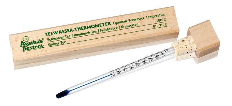 Theewater thermometer houten doos