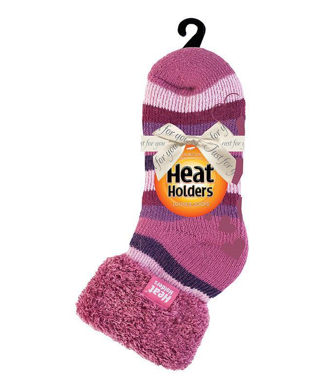 Ladies lounge socks 4-8 37-42 muted pink stripe